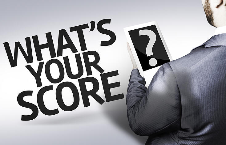 Business man with the text Whats your Score? in a concept image
