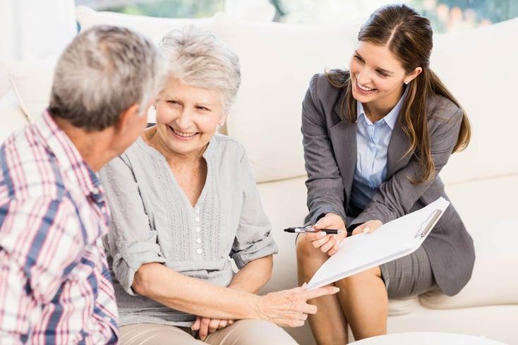Older couple looking at paperwork