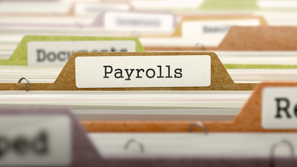 Payrolls - Folder Register Name in Directory. Colored, Blurred Image. Closeup View. 3D Render