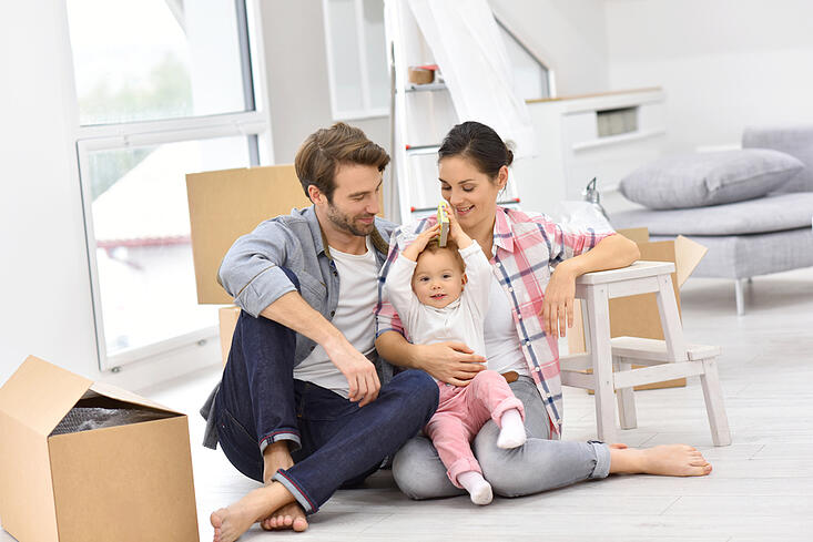 Young family moving into new home-1