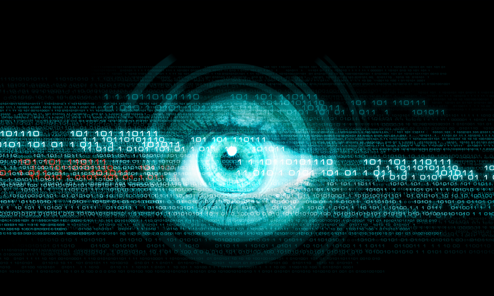 Digital image of womans eye. Security concept