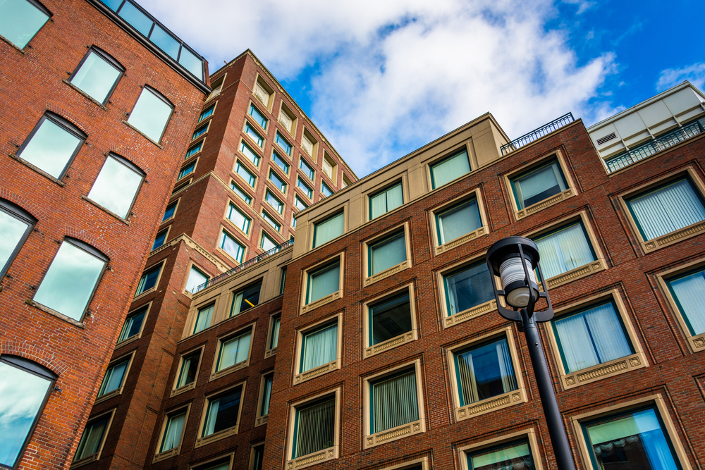 Looking up at apartment buildings in Boston, Massachusetts.